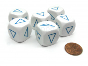 Koplow Games Pack of 6 20mm Math Educational Triangle Shapes Dice - White with Blue #13589