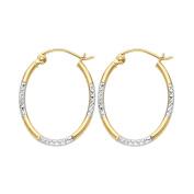 Solid 14K Yellow Gold Two Tone 1.5mm Diamond Cut Tube Hoop Earrings