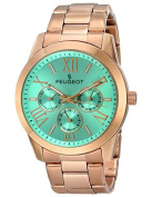 Peugeot Women's 7095TQ Analogue Display Japanese Quartz Rose Gold Turquoise Dial Watch