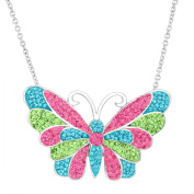 Luminesse Butterfly Pendant Necklace with Pink, Blue and Green Crystals in Sterling Silver, 46cm