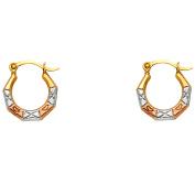 Ladies 14K Tri Colour Gold Heart Pattern Fancy Hoop Earrings