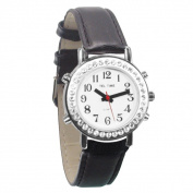 Ladies Talking Watch with Rhinestone Bezel and Leather Band -English