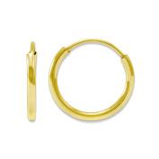 14K Yellow Gold Endless Round Tube Hoop Earrings - 8mm