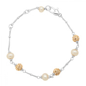 Girl's Champagne Freshwater Pearl Bead Bracelet with Crystals in Sterling Silver