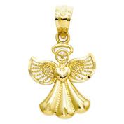 14K Yellow Gold Polished Angel Charm Pendant - 20mm