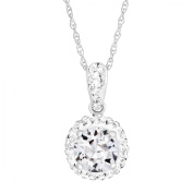Luminesse April Pendant Necklace with White Crystals in Sterling Silver
