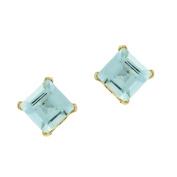 .40 cttw Square 4MM Blue Aquamarine 10K Yellow Gold Stud Earrings