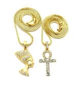 "Unique Fashion 21 Egyptian Ankh, Nefertiti Pendant 2mm 20"",24"" Box Chain 2 Necklace Set"