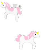 Hypoallergenic Sterling Silver Pink Unicorn Stud Earrings for Kids