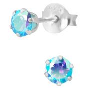 Hypoallergenic Sterling Silver Aurora Borealis Aqua Crystal Round Stud Earrings for Kids