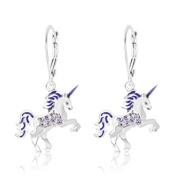 Children's Earrings - White Gold Tone Purple Enamel Unicorn Crystal Earrings with Silver Leverbacks Baby, Girls, Children