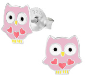 Hypoallergenic Sterling Silver Pink Owl with Hearts Stud Earrings for Kids