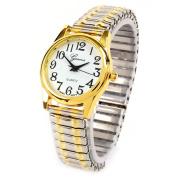 2Tone Medium Size Geneva Fancy Stretch Band Women's Watch