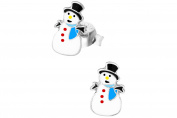Hypoallergenic Sterling Silver Christmas Snowman Stud Earrings for Kids