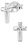 Hypoallergenic Sterling Silver Crystal Cross Stud Earrings for Kids