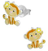 Hypoallergenic Sterling Silver Cute Monkey Stud Earrings for Kids