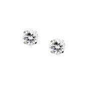 10Kt White Gold 6Mm Round Cz Stud Earrings 10K Jewellery