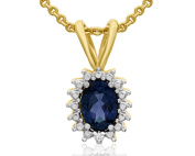 1 Carat Oval Shape Sapphire and Halo Diamond Necklace In Gold Overlay, 46cm