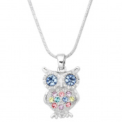 Owl Pendant Necklace Rhinestone Crystal Rhodium High Polished J0256-MT2