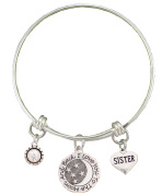 Sister Love You To The Moon Silver Wire Adjustable Bracelet Jewellery