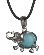 Blue Bead Textured Elephant Necklace Pendant on Cord by Jewellery Nexus