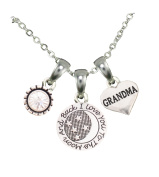 Grandma Love You To The Moon Silver Chain Necklace And Charms Jewellery