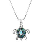 Abalone Turtle Pendant Necklace Rhodium High Polished J0428