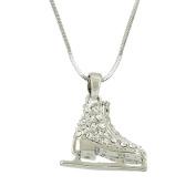 Ice Skating Shoe Pendant Necklace Rhinestone Crystal Rhodium High Polished J0295-CR