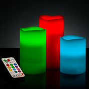 Babz Smooth 3 x Weatherproof Outdoor and Indoor Colour Changing LED Candles with Remote Control & Timer - Vanilla Scent