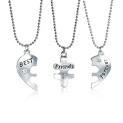 "3 pc Necklace Ball Chain Broken Heart Message "" Best Friends Forever "" Pendant Clear Rhinestone"