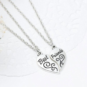 "One Link Cable Necklace Cable Chain Broken Heart Friendship BFF Message "" BEST FRIENDS "" Flower Carved Pendant,SEXY SPARKLES"