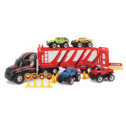 New Bright 60cm Free-Wheeling Car Carrier with Trucks and Accessories, Black