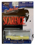 Scarface (1983) Al Pacino Film Car 1963 Cadillac Series 62 1:64 Kingpin Yellow Lowrider Collector Special Gangster Edition Movie Merchandise Toy Collectible Jada on the Set Oliver Stone Brian De Palma