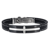 Two-Tone Stainless Steel Stationed Cross Black Leather Bracelet