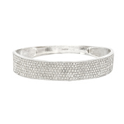 Silver-Tone Brass Textured Cubic Zirconia Bangle