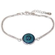 .925 Sterling Silver Bracelet with Sapphire and Nano Turquoise Stones