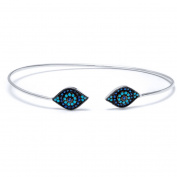 .925 Sterling Silver Bangle with Sapphire/Nano Turquoise Stones