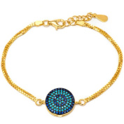14kt Gold Plated .925 Sterling Silver Bracelet with Sapphire and Nano Turquoise Stones
