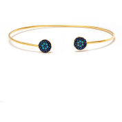 14kt Gold Plated .925 Sterling Silver Bangle with Sapphire and Nano Turquoise Stones