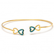 14kt Gold Plated .925 Sterling Silver Bangle with Nano Turquoise Stones
