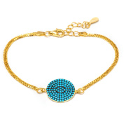 14kt Gold Plated .925 Sterling Silver Bracelet with Nano Turquoise Stones