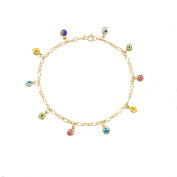 Lesa Michele Multi-Colour Evil Eye Charm Figaro Chain Bracelet in Gold over Sterling Silverin Sterling Silver