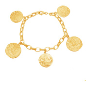 Lesa Michele Sterling Silver Textured Roman Disc Charm Bracelet in Sterling Silver