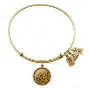 Wind & Fire Initial 'A' Gold Charm Bangle