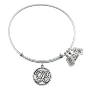 Wind & Fire Initial 'B' Silver Charm Bangle