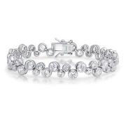 Bling Jewellery CZ Bubble Tennis Bracelet Bezel Set 18cm Rhodium Plated