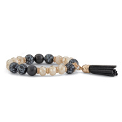 Black and White 14k Gold-Plated Beaded Tassel Fringe Stretch Bracelet 20cm