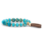Blue Simulated Turquoise 14k Gold-Plated Beaded Tassel Fringe Stretch Bracelet 20cm
