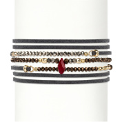 Multicolor Faceted Bead Accent Grey Suede Wraparound Stretch Bracelet 14k Gold-Plated 90cm - 100cm