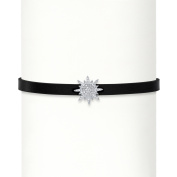.11 TCW Cubic Zirconia Starburst Black Leather Strand Bracelet with Lobster Clasp in Sterling Silver 18cm - 20cm